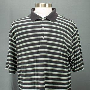 Alan Flusser Golf  Polo Shirt Sz L Black Striped